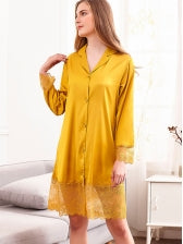 Silk Lace Hem Casual Nightgowns For Women