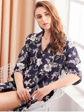 Printed Button Up Half Sleeve Night Robes
