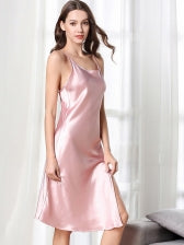 Plain Pure Color Faux Silk Split Hem Sleeping Dress