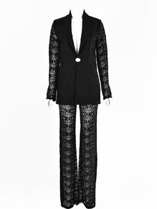 OL Style One Button Lace Embroidered Ladies Work Suits