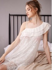 Royal Style Ruffled Lace Nightgown