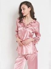 Embroidered Smooth Faux Silk Women Loungewear Pajamas Set