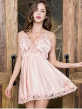Lace Patchwork Spaghetti Strap Nightgowns For Women