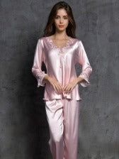 Embroidered Detail Faux Silk Loungewear 2 Piece Sets