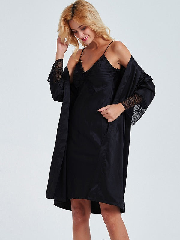 Lace Stitching Black Slip Dress With Loose Cardigan Robe