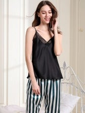 Stripes Lace Patchwork Sleeveless Loungewear Pajamas Set