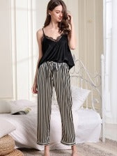 V Neck Lace Camisole With Stripes Pants Pajamas Set
