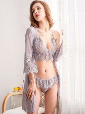 Solid Lace Bra Set With Half Sleeve Sexy Robe