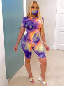 Short Sleeve Crew Neck Tie Dye Two Piece Set