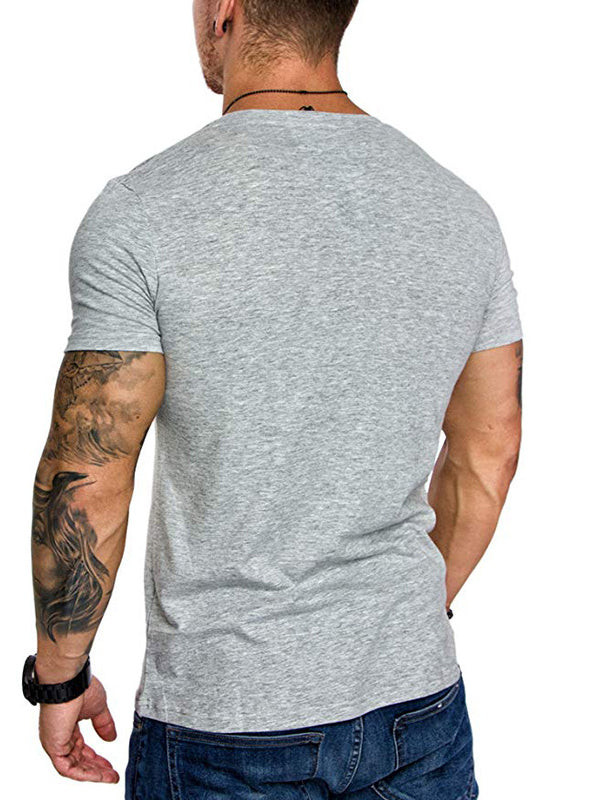 V Neck Solid Casual Short Sleeve T-Shirt