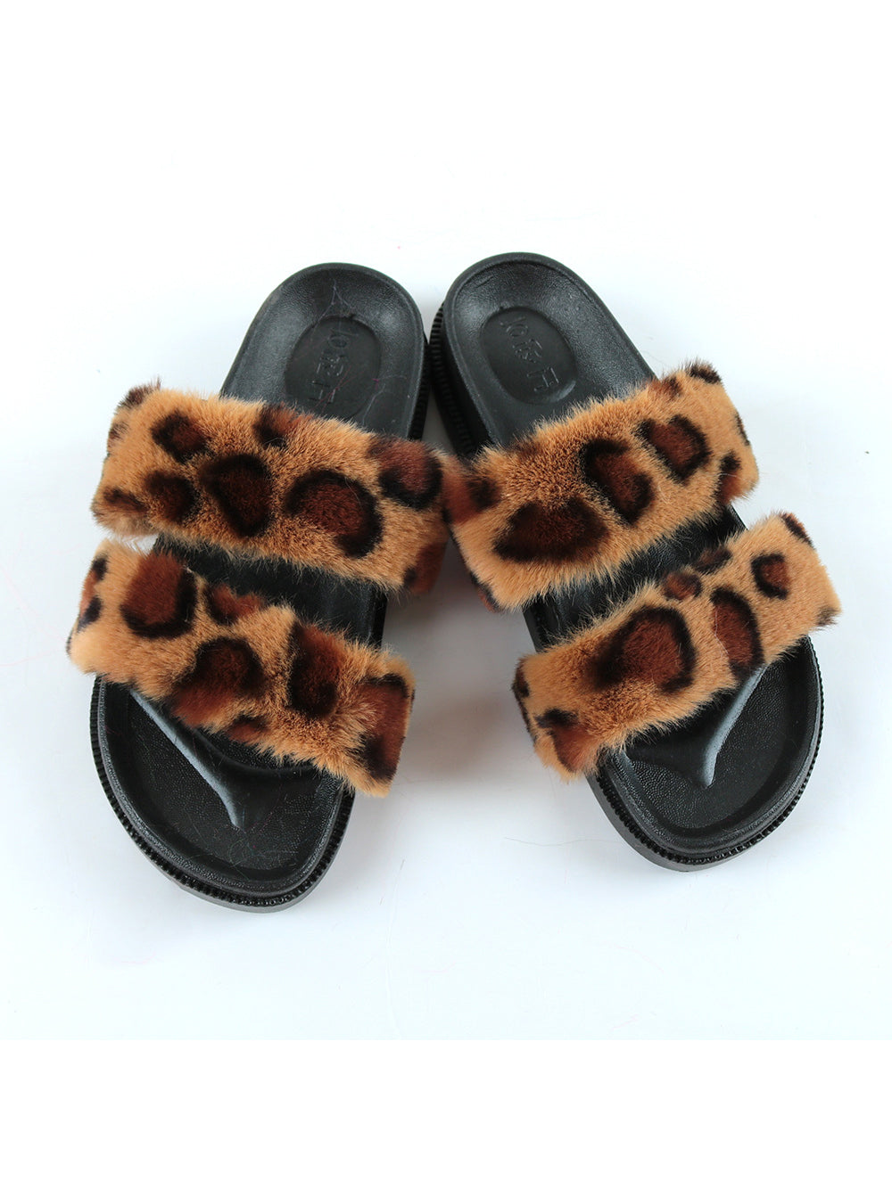 Summer Color Block Faux Fur Fluffy Slippers