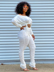 Crew Neck Long Sleeve Drawstring Ruched 2 Piece Sets