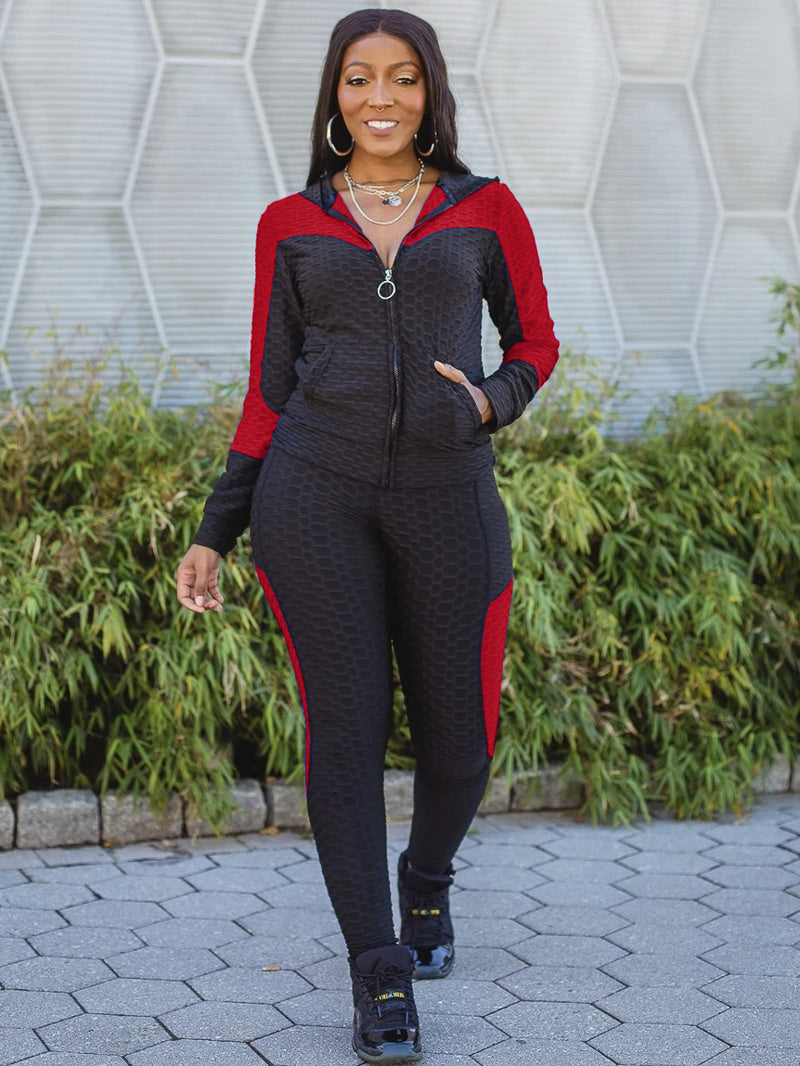 Breathable Contrast Color Zipper Hooded Workout Clothes