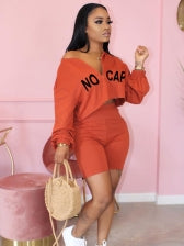 Euro Letter Cropped Top Two Piece Short Set