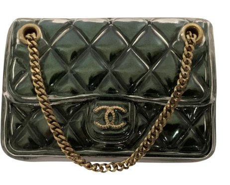 Chanel Green Gold Classic Flap Quilted Cc Logo Purse Handbag Pin Brooch