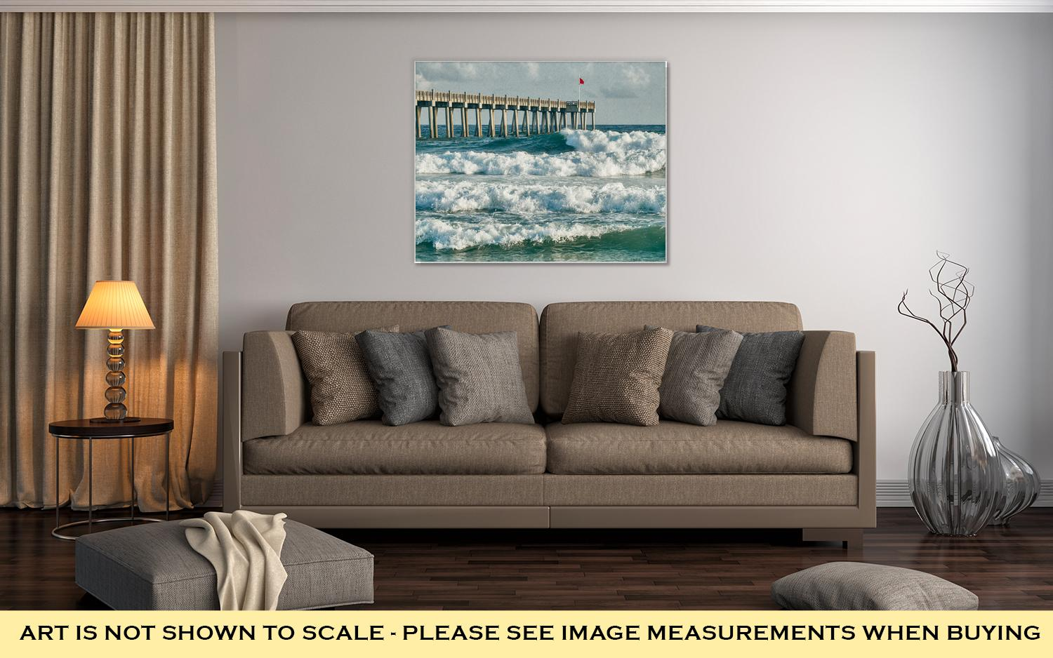 Gallery Wrapped Canvas, Surfs Up At Pensacola Beach Fishing Pier