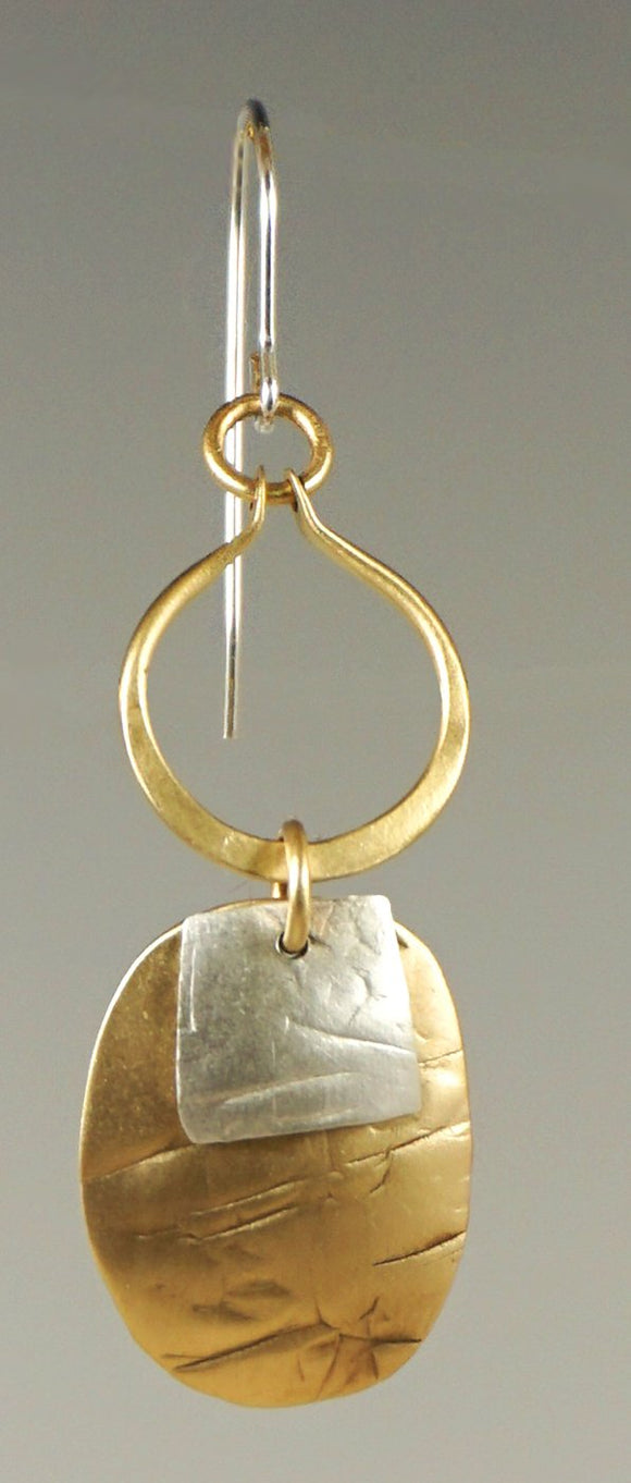E3268w STERLING AND BRASS EARRING
