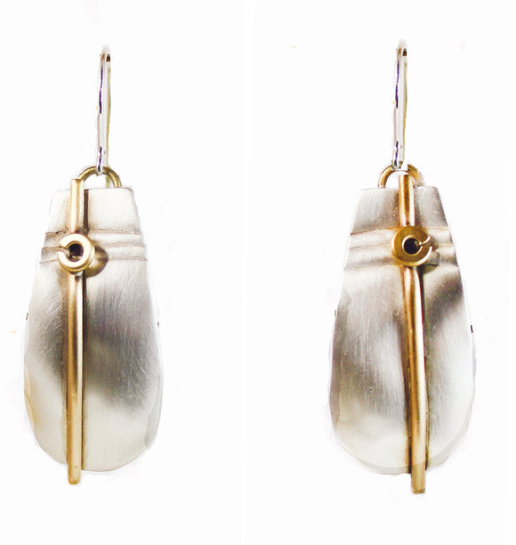 E3460 Silk Satin Earrings.  Sterling and Brass