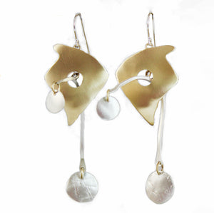 E3571w Mobile Earrings. Sterling and Brass