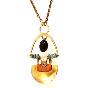 N3427 SWING AND SWAY NECKLACE ,BRASS, COPPER, STERLING, ONYX STONE AND CLAY BEADS. 30""