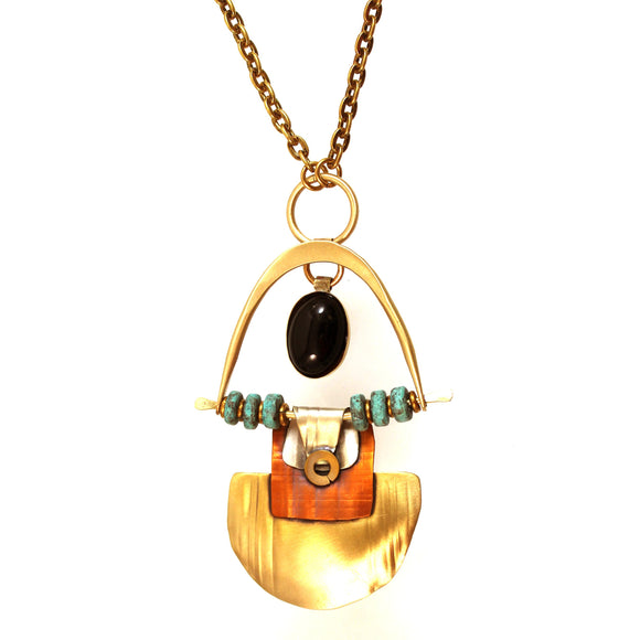 N3427 SWING AND SWAY NECKLACE ,BRASS, COPPER, STERLING, ONYX STONE AND CLAY BEADS. 30