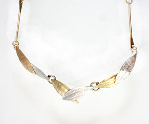 N3521 Elegant Links necklace. Sterling and Brass..20""