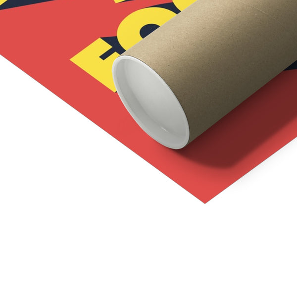 Steve Jobs stay hungry stay foolish poster showing close up of corner and packaging tube