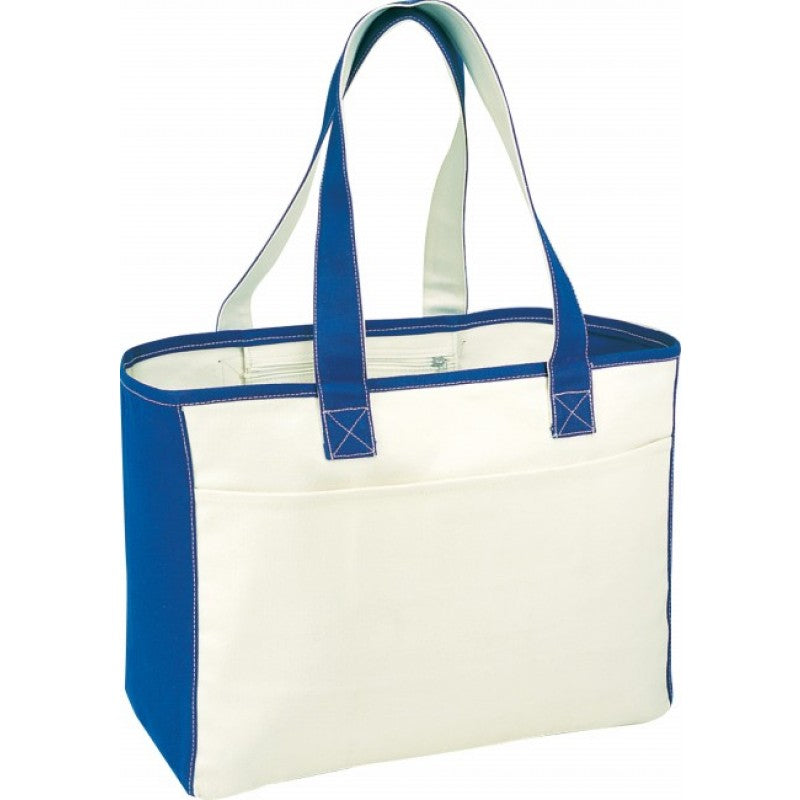 Canvas Tote Bag Front Slip Pocket With Hook And Loop Closure - BAGANDCANVAS.COM