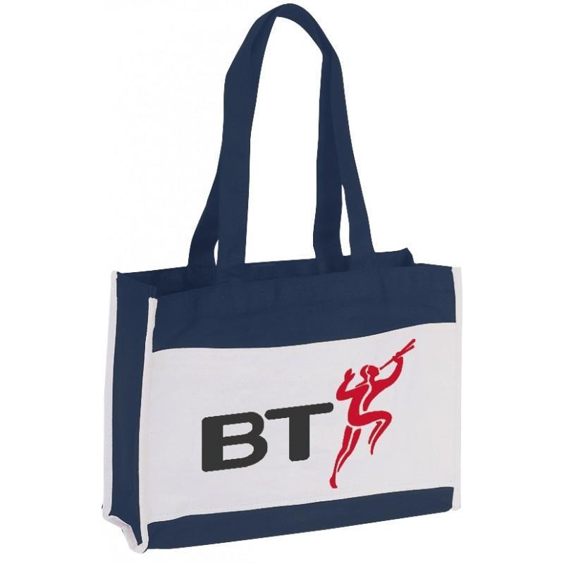 Canvas Tote Bag With Front Slip Pocket - BAGANDCANVAS.COM