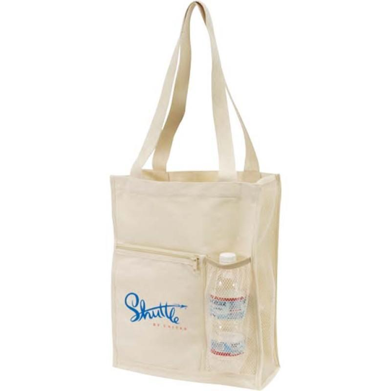 Canvas Tote Bag With Mesh Bottle Holder - BAGANDCANVAS.COM