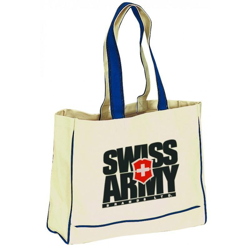 Color Handle Canvas Tote Bag With Inside Zip Pocket - BAGANDCANVAS.COM
