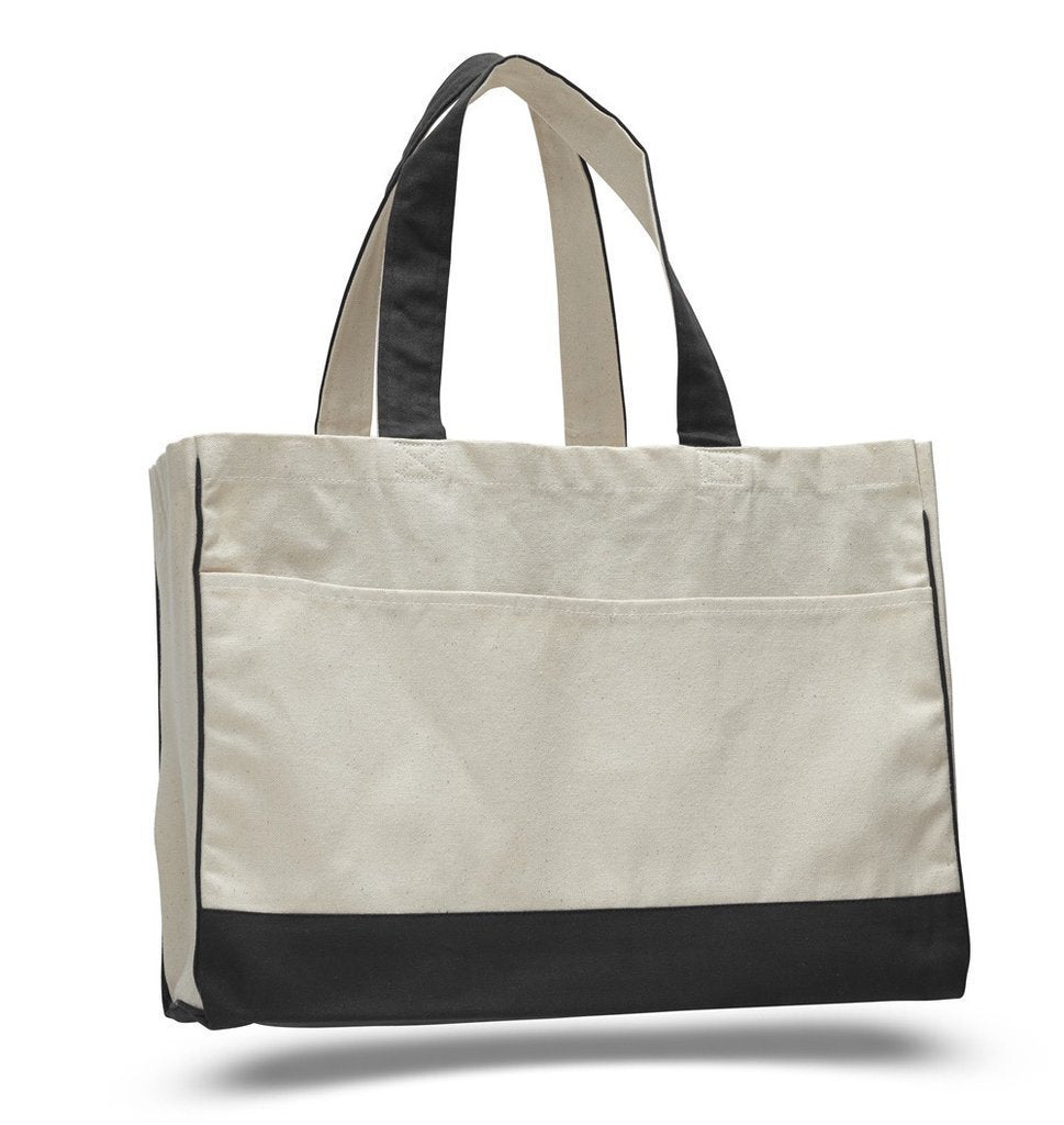 Cotton Canvas Tote Bag With Inside Zipper Pocket - BAGANDCANVAS.COM