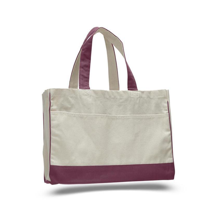 Custom Cotton Canvas Tote Bag With Inside Zipper Pocket - BAGANDCANVAS.COM