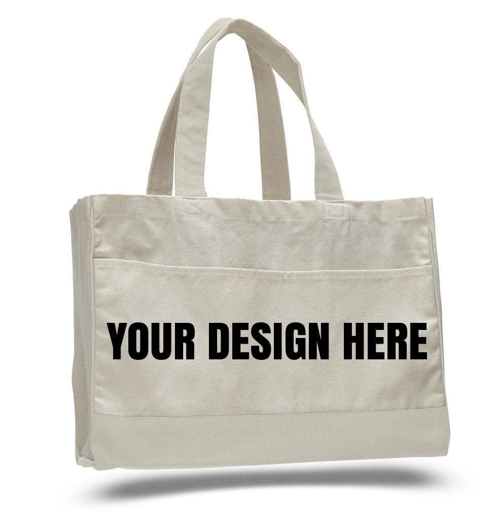 Custom Cotton Canvas Tote Bag With Inside Zipper Pocket - Customized - BAGANDCANVAS.COM