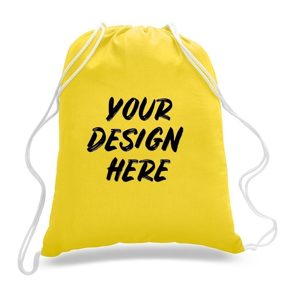 Custom Economical Sport Cotton Drawstring Bag Cinch Packs - Customized - BAGANDCANVAS.COM