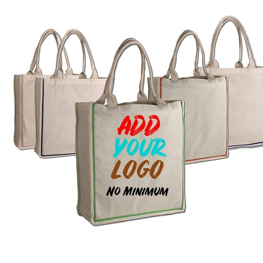 Custom Fancy Handle 100% Cotton Tote Bag - Customized - BAGANDCANVAS.COM
