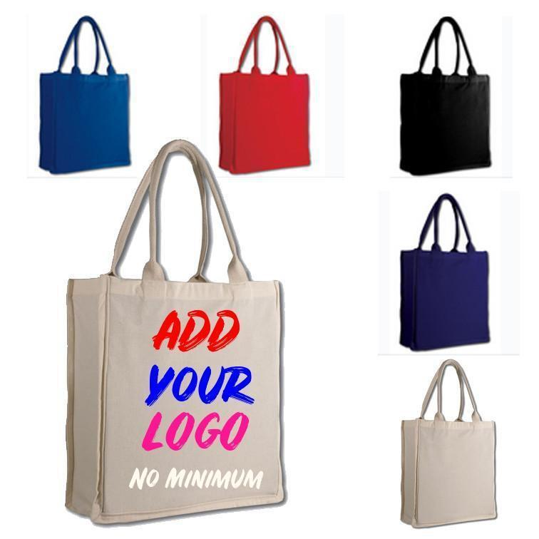 Custom Fancy Tote Bag 100% Cotton Sheeting Full Side Gusset - Customized - BAGANDCANVAS.COM