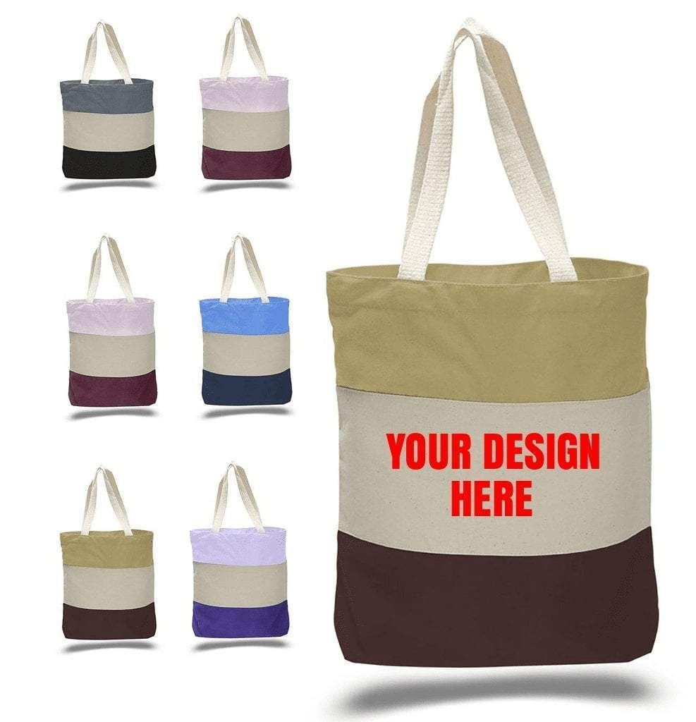 Custom Heavy Canvas Tote Bags Tri-Color - Customized - BAGANDCANVAS.COM