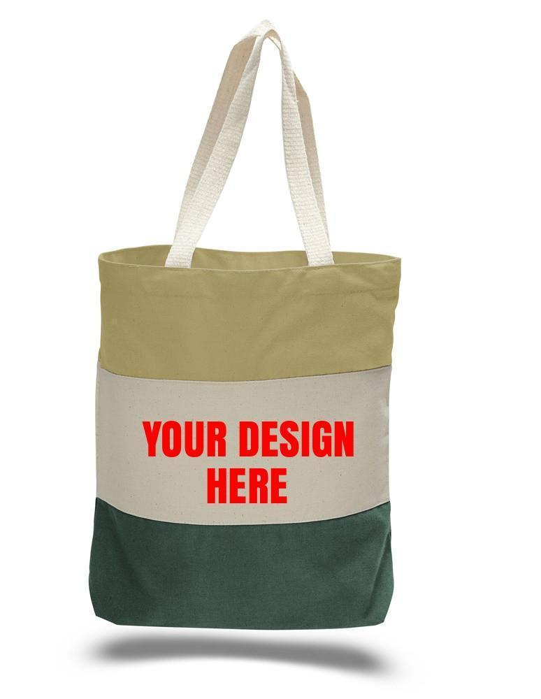Custom Heavy Canvas Tote Bags Tri-Color - BAGANDCANVAS.COM