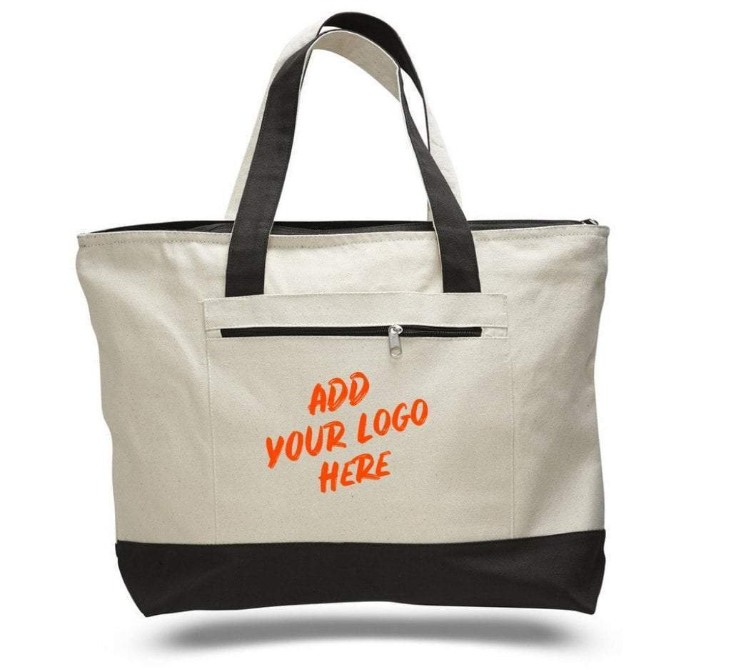 Custom Heavy Canvas Zippered Shopping Tote Bags - Customized - BAGANDCANVAS.COM