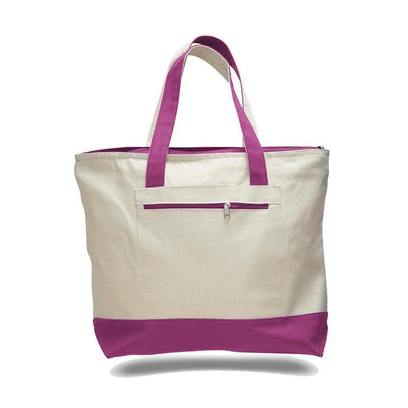 Custom Heavy Canvas Zippered Shopping Tote Bags - BAGANDCANVAS.COM