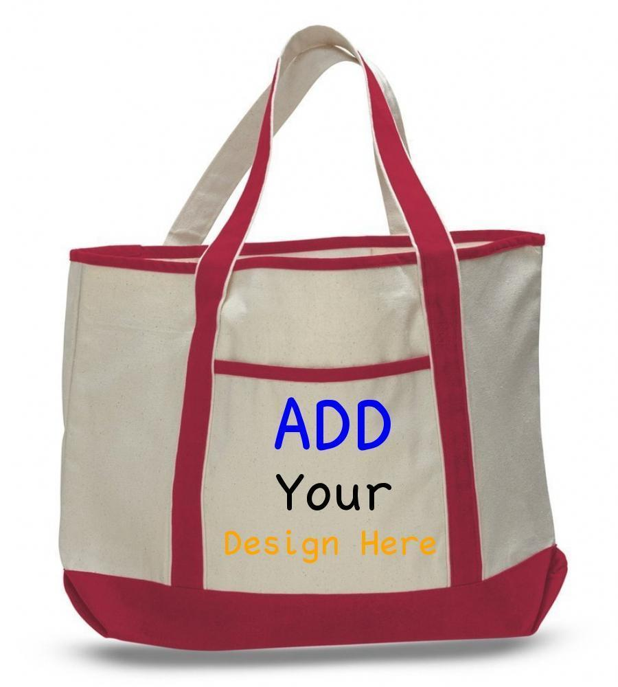 Custom Jumbo Size Heavy Canvas Deluxe Tote Bag - Customized - BAGANDCANVAS.COM