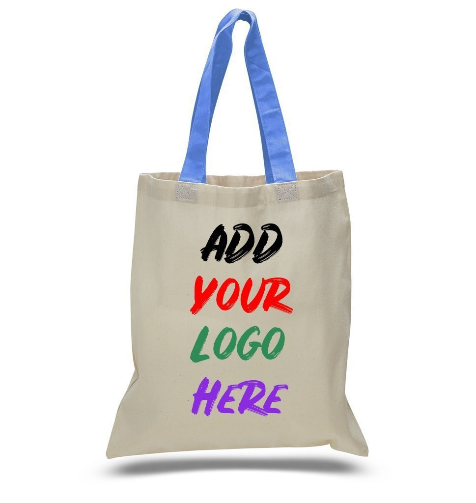 Custom Tote Bag With Color Handles 100% Cotton - BAGANDCANVAS.COM