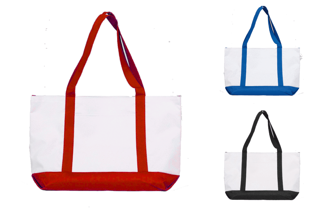 Grocery Shopping Tote Bag With Large Outside Pocket - BAGANDCANVAS.COM