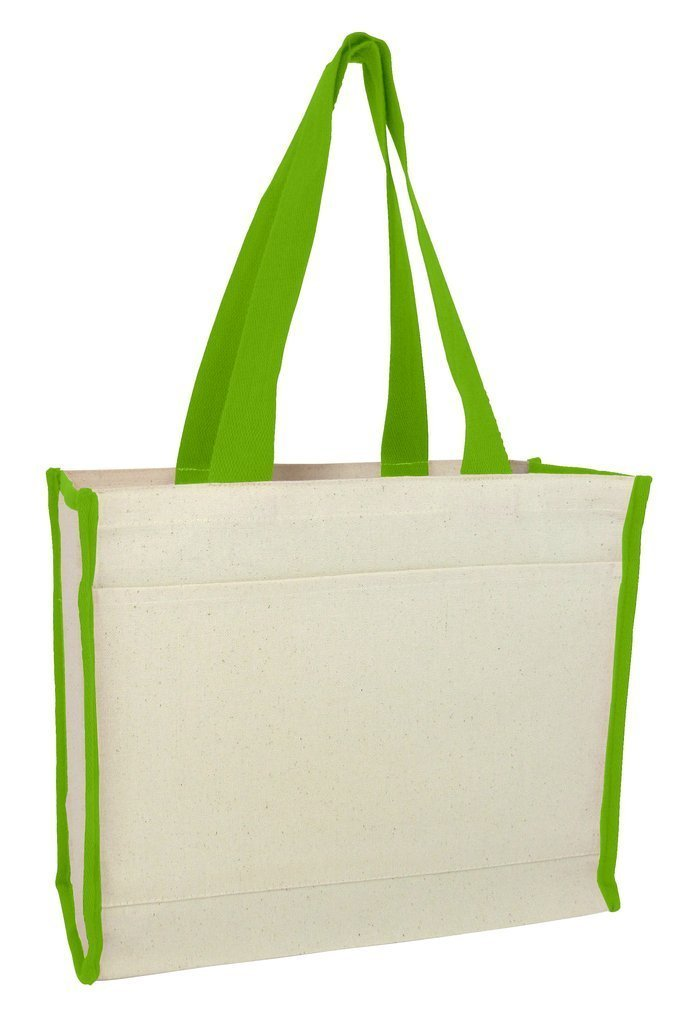 Heavy Canvas Tote Bag With Colored Trim - BAGANDCANVAS.COM
