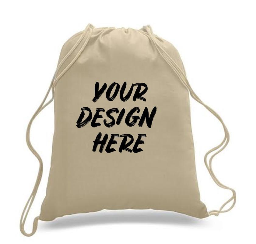 Custom Drawstring Backpack 100% Cotton Sheeting - Customized - BAGANDCANVAS.COM