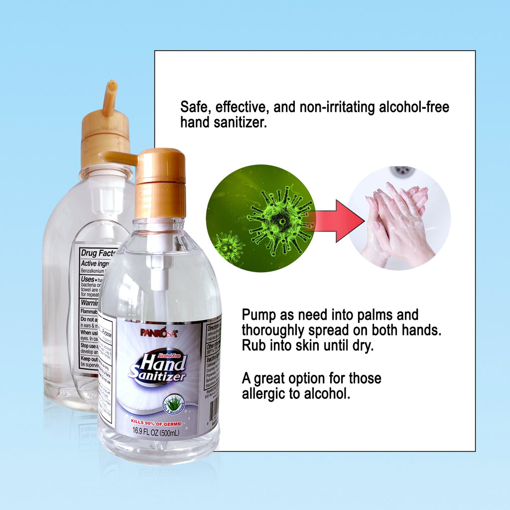 Made in USA - PANROSA Anti-Bacterial Alcohol-Free Hand Sanitizers 16.9oz  | ( 500ml ) - BAGANDCANVAS.COM