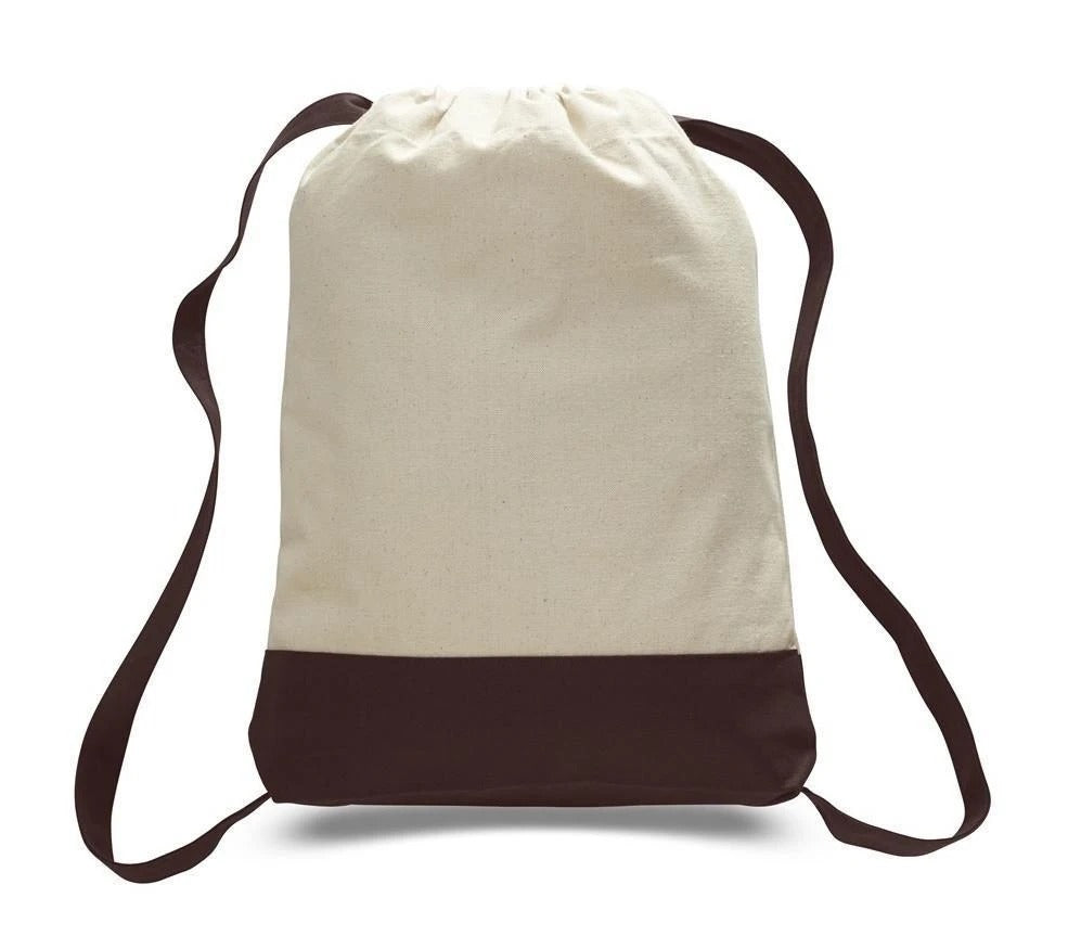 Two Tone Canvas Sport Backpacks / Wholesale Drawstring Bags - BAGANDCANVAS.COM