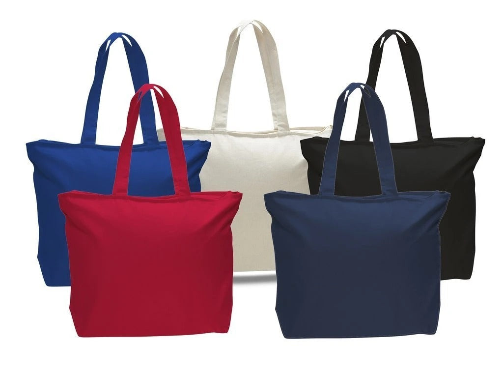 Long Handles Heavy Zippered Canvas Tote Bag - BAGANDCANVAS.COM