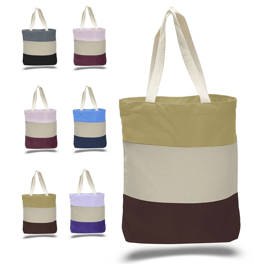 Wholesale Heavy Canvas Tote Bags Tri-Color - BAGANDCANVAS.COM